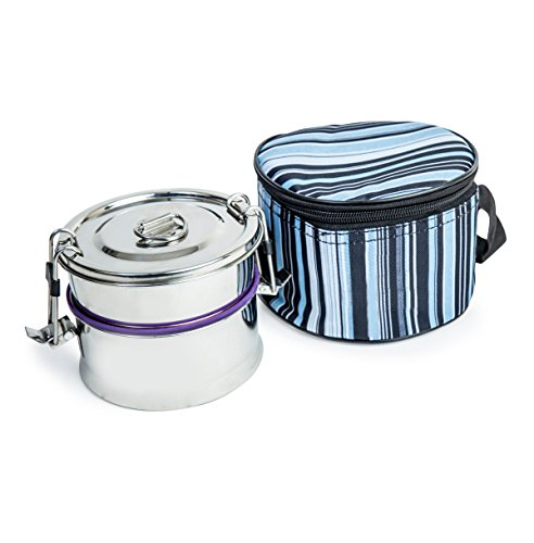 Leak-Proof Double Decker Stainless Steel Lunch Box | 2 Tier Cylindrical Tiffin box with Insulated Carry Bag| BPA and Phthalate Free