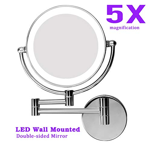 Moon Moon 7-Inch LED Lighted Wall Mount Makeup Mirror with 5x Magnification -
