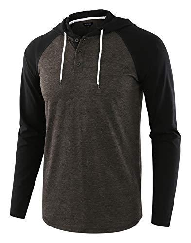 HETHCODE Men's Casual Lightweight Long Sleeve Raglan Henley Jersey Hoodie Shirt H.Charcoal/Black L