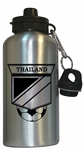 Thai Soccer Water Bottle Silver - Thailand by Custom Image Factory