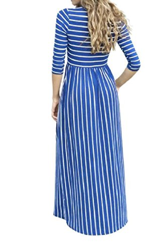 Maxi 3 Pocketed Leisure Dress 4 Coolred Women Stripes Sleeve Pattern7 Printing Long CwzRZxq
