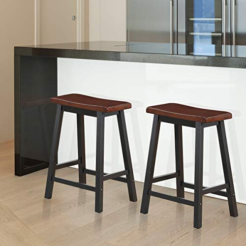 COSTWAY Saddle Seat Stools, Wood Vintage Counter Height Chairs, Modern Backless Design Indoor Furniture for Kitchen Dining Pub and Bistro, Set of 2 24 H Brown