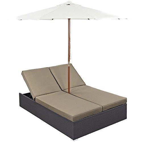 Wicker Double Chaise Lounge - Modway Convene Wicker Rattan Outdoor Patio Double Chaise Lounge Chair and Umbrella Set in Espresso Mocha