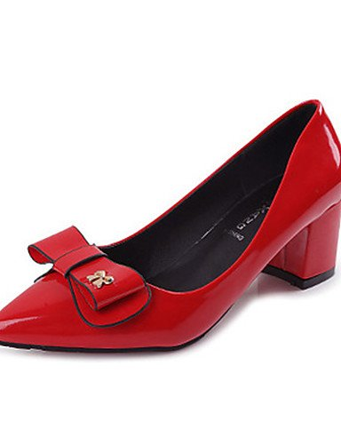 GGX/Damen Schuhe Patent Leder Spitz Zulaufender Zehenbereich Heels Office & Karriere/Party & Abend/Kleid Chunky Heel bowknotblack red-us8.5 / eu39 / uk6.5 / cn40