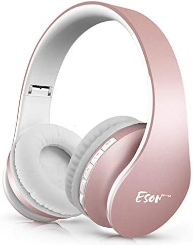 Wireless Earbuds,Esonstyle Over Ear Headset V5.0 with Microphone,Bluetooth Headphones Wireless Foldable Lightweight, Support Tf Card MP3 Mode and Fm Radio for Cellphones Laptop TV-Rose Gold