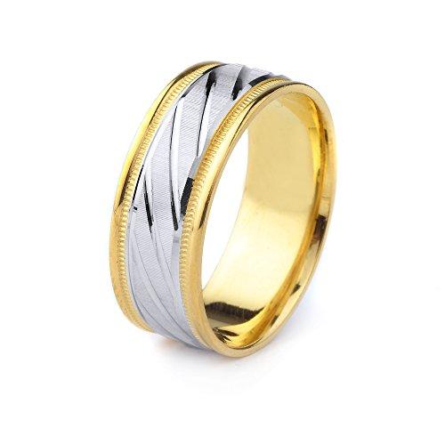 10k Gold Men's Comfort-Fit Two Tone Wedding Band Polished Cuts, Coin Edge Finish & Milgrain Edges - Band Wedding Milgrain Two Tone