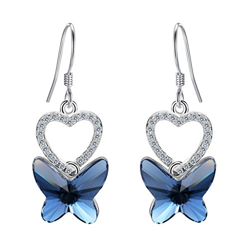 [EleQueen 925 Sterling Silver CZ Love Butterfly French Hook Dangle Earrings Denim Blue Adorned with Swarovski] (Butterfly Costume Jewelry)