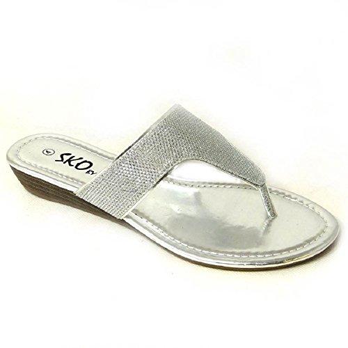 SKO'S - Sandalias de vestir de Material Sintético para mujer Silver (H276-2Q)