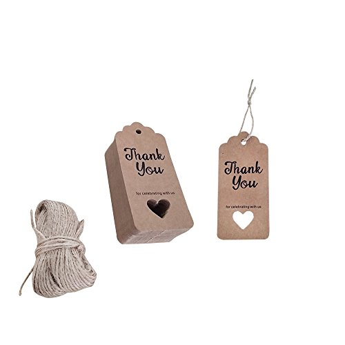 100 PCS Hollow Heart Kraft Paper Wedding Favor Gift Tags Baby Shower Tags Rectangular Hang Lable Tags with 110 Feet Jute - Small Heart Hang Tags