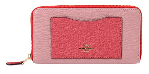 Coach Accordion Zip Wallet in Geometric ColorBlock, F57605 (Strawberry/Oxblood Multi) by Coach