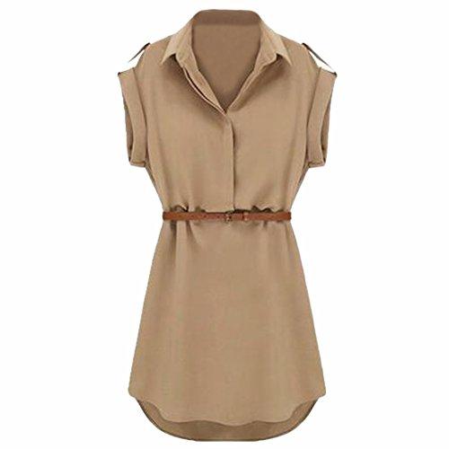 Frauen Art und Weise VAusschnitt Kurzarmhohe Taillenduennes Kleid ...