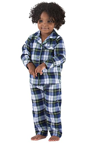 PajamaGram Tartan Flannel Classic Plaid Pajamas with Button-Front Top, Green, 5T (Flannel Front Button)
