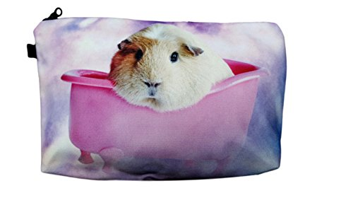 Pig With Makeup (Pashal Super Cute Pink Guinea Pig in Bath Tub Zipper Coin & Makeup Pouch,)