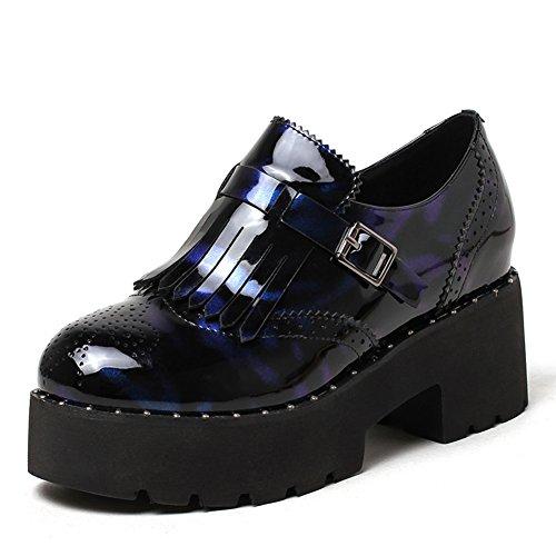 señora zapatos planos/Retro áspero redondo cabeza con zapatos casuales de Inglaterra/zapatos de cuero flecos B