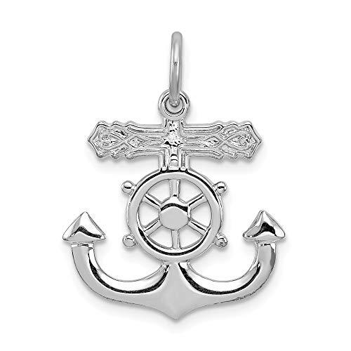 Jewel Tie Sterling Silver Mariner Cross Pendant - (0.91 in x 0.75 in) ()