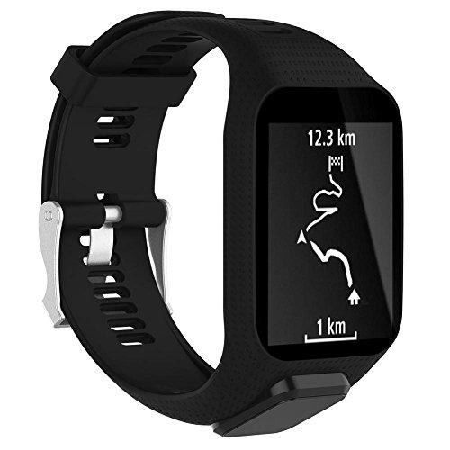 Vovi Watch Band for TomTom Runner 2/3 Series Spark GPS Adventurer Watch Silicagel Replacement Runner Watchband Watch Strap 25cm Long for Women Men