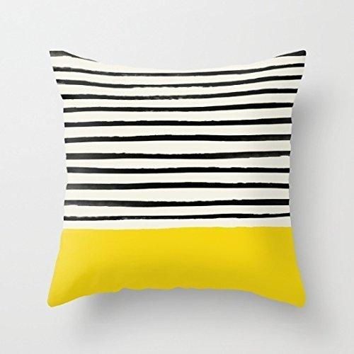 Pillow Cover Penelope Rayures géométriques Jaune Farmhouse Décor Canapé Housse de Coussin Coque Home Couvre-lit décoratif Taie doreiller Pour canapé dextérieur Taie doreiller B 627702