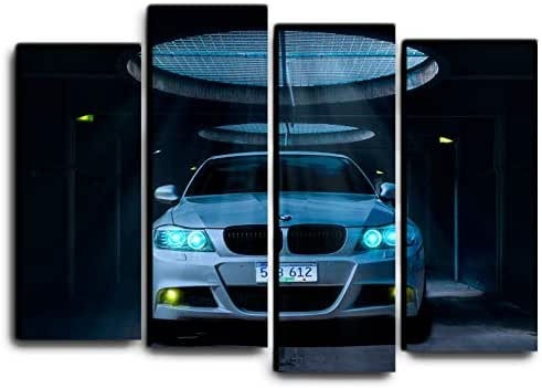 Big Set Sport Car BMW in Garage Wall Art Decor Picture Painting Poster Print on 4 Canvas Panels Pieces - Transportation Theme Wall Decoration Set - Wall Picture for Showroom 32 by 44 in