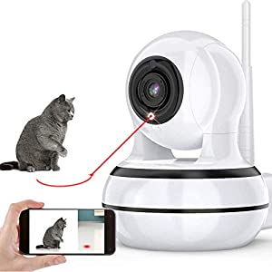 Dog Camera, Pet Camera with Interactive Laser Toy Wireless Baby Monitor FHD 1080P WiFi Enabled Cat Camera 360° Indoor…