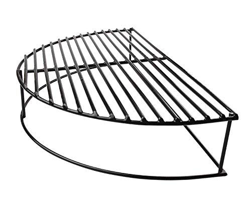 "soldbbq Half-Moon Porcelain Coated Stack Expander Rack,Smoking/Warming/Grilling Grate for Large Big Green Egg,18 inch Weber Kettle Grill,Pit Boss, Vision Grill Etc,16"" X10 X 4 1/2"" H"