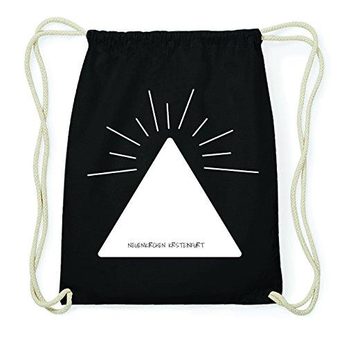 JOllify NEUENKIRCHEN KRSTEINFURT Hipster Turnbeutel Tasche Rucksack aus Baumwolle - Farbe: schwarz Design: Pyramide