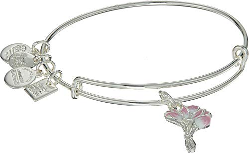 Alex and Ani Women's Charity by Design Pink Tulips Bangle Shiny Silver One Size