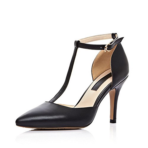 VogueZone009 Women's Soft Material Buckle Pointed Closed Toe High-Heels Solid Sandals Black WkSwwf