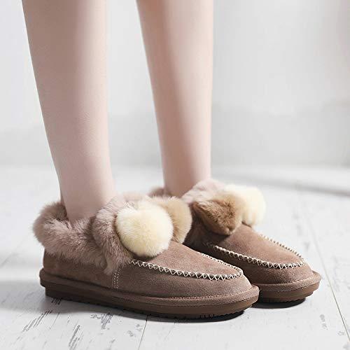 BYUYAN Stiefel Die Winter Schnee Stiefel weibliche Plus Baumwolle Warm und vielseitige Kurze Barrel Stiefel Schuhe aus Baumwolle