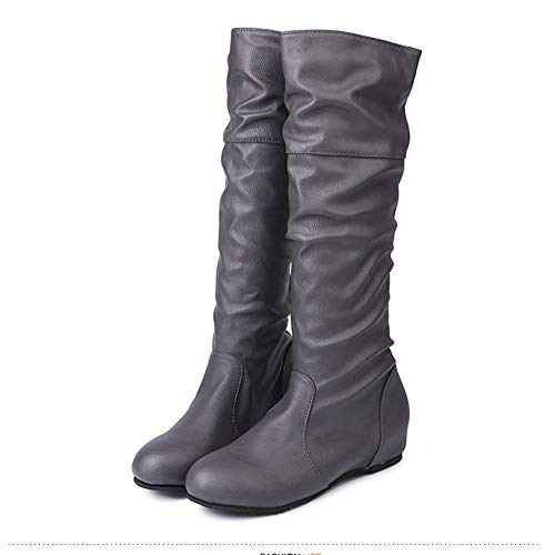 414d4ae98cda Women s Winter Boots Vintage Pleated Height Increasing Shoes Bota Feminina  Warm Fleeces Mid-Calf Boots Grey