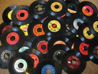 "Genuine Record Decorations By VILLAGE MUSIC WORLD| Set Of 25| 45 RPM, 7"" Vinyl Records