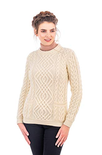 (SAOL Cable Knit Crew Sweater (Medium, Natural))
