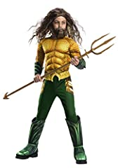 Join the DC universe as the King of Atlantis in this Aquaman costume. Deluxe children's costume features a fiber-filled muscle chest jumpsuit with attached 3D gauntlets on sleeve ends, attached 3D boot tops on printed legs and gold waist belt...