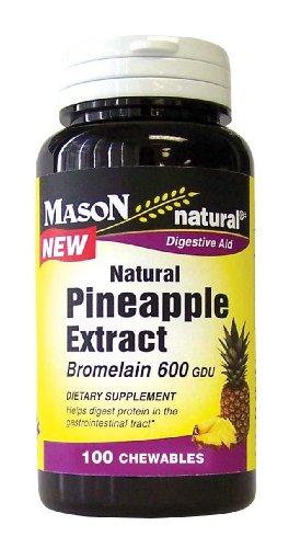 Mason Vitamins Natrual Pineapple Extract Chewable, Bromelain 600 GDU, 100-count Bottles (Pack of 2)