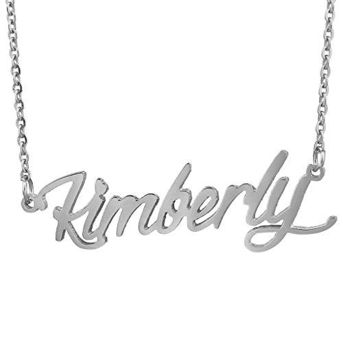 (AIJIAO Steel Script Nameplate Name Necklace Personalized Choker Women Gift/Kimberly)