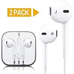 VOWSVOWS 3.5mm Earphones/Earbuds/Headphones Stereo Mic&Remote Control Compatible with iPhone 6s/6plus/6/5s/se/5c/iPad/iPod Galaxy More Android Smartphones (White)(2Pack)
