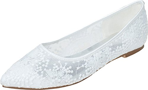 15 Bride Wedding Point Evening Up Dinner Flat Ladies amp; Dance Toe Slip 2046 Wedding On Party White Lace Pumps Shut U0C8qfw