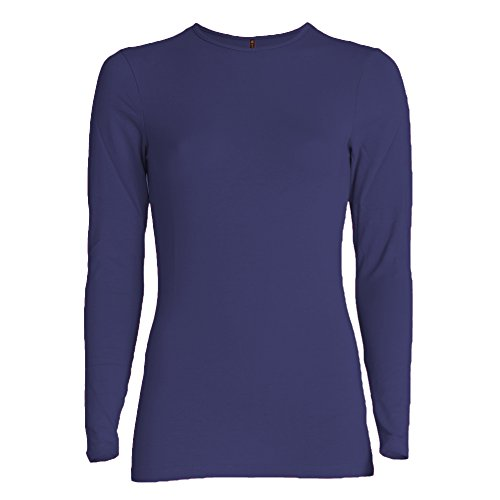 Esteez Long Sleeve Base Layering T-Shirt for Women Relaxed FIT Navy X-Large