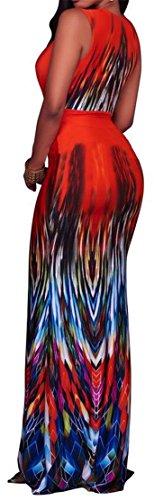Cromoncent Bandage Dress Printed Swing Red Women Sexy Sleeveless Pleated Maxi RwqxI1Rr