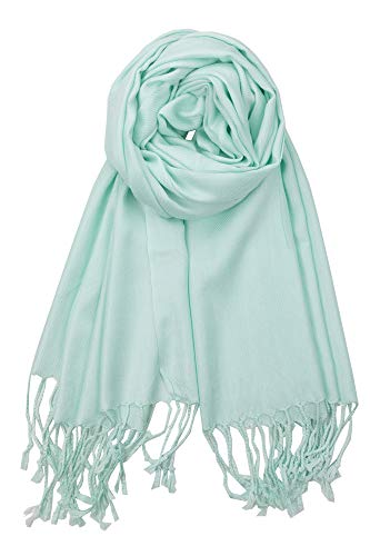 Achillea Large Soft Silky Pashmina Shawl Wrap Scarf in Solid Colors (Mint Green) ()