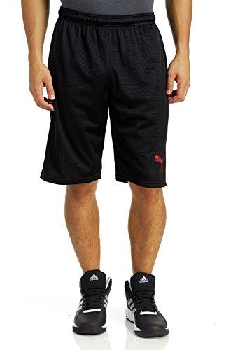 Puma Men's Faded Poly Shorts, Puma Black/Red Liquid Camo, Small