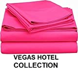 hotel collection twin sheets - VEGAS HOTEL COLLECTION Bed Sheets New Collection - 100% Egyptian Cotton 400 Thread Count 4 Piece { Hot Pink, Solid } Sheet Set Fits Up to 16-18