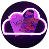 Ins/Chic Style Neon Light,QiaoFei Home Decor Lamp,LED Cloud Sign Shaped Decor Light,Wall Decor for Chistmas,Birthday Party,Kids Room, Living Room, Wedding Party Decor (Purple Pink))