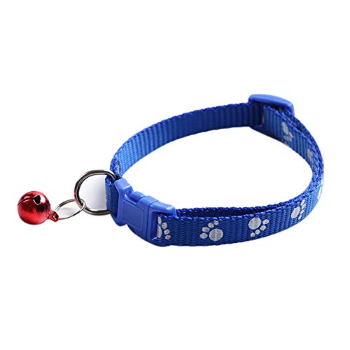 bromrefulgenc Dog Collar,Lead Leash for Pet,Fashion Dog Puppy Cat Kitten Buckle Paw Print Adjustable Pet Collar with Bell - Blue