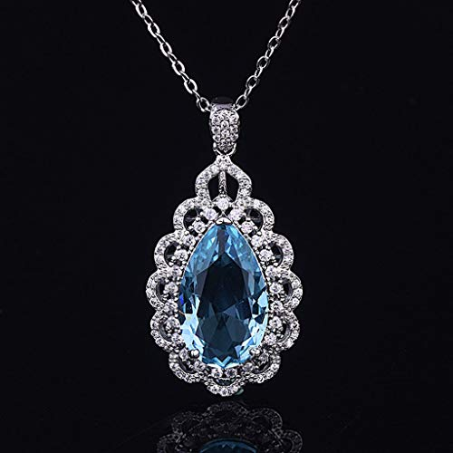 Sinwo Women's Simple Exquisite Natural Blue Topaz Geometric Drop Necklace Pendant Jewelry Gift (Blue)