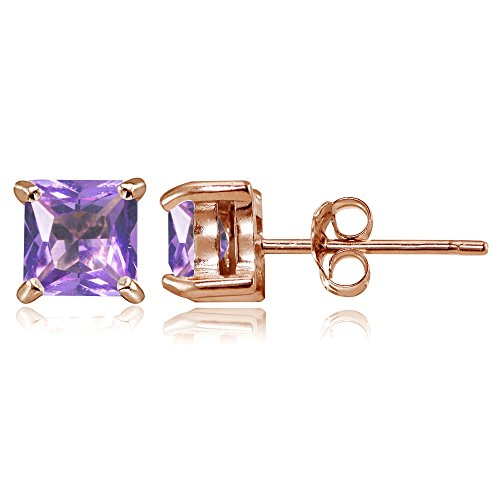 Rose Gold Flashed Sterling Silver Simulated Amethyst 5mm Princess-cut Stud Earrings