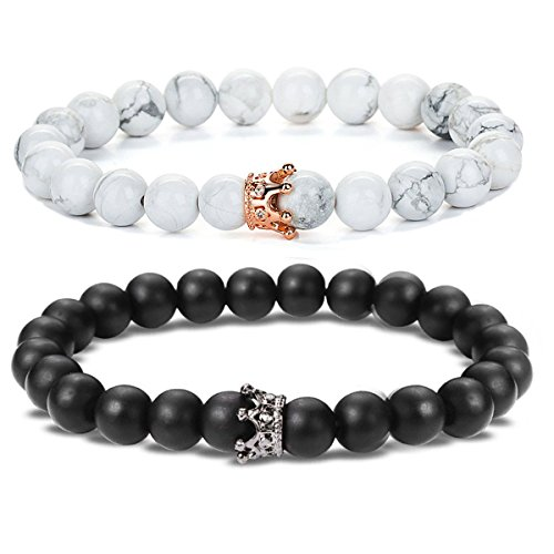 (SEVENSTONE 2PCS Crown Couples Bracelet for Men Women King&Queen Bracelet Adjustable 8MM)