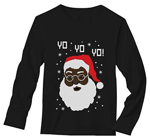 Yo Yo Yo Black Santa Ugly Christmas Sweater Long Sleeve T-Shirt Large Black ()