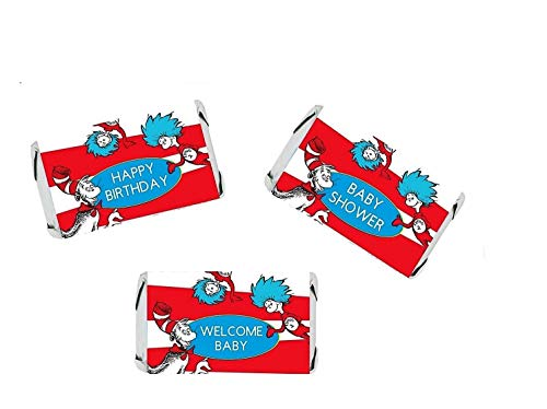(Seuss Party Stickers for Hershey's Miniatures - BABY SHOWER OR BIRTHDAY Party Favors)