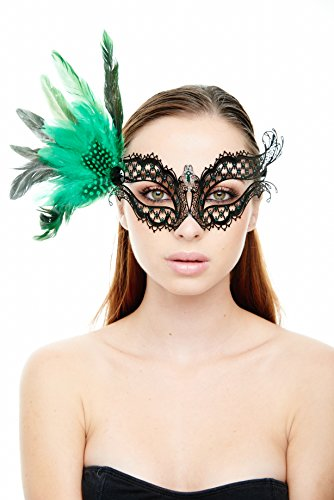 KII Seductress Black Masquerade Mask with Green Feathers and Rhinestones (Unisex One Size) ()