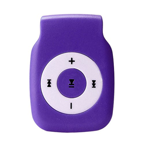 Mini Clip Metal USB MP3 Player Support Micro SD TF Card Music Media - Sports MP3 | Metal Super Small Volume Anytime and Anywhere Storage Data Purple